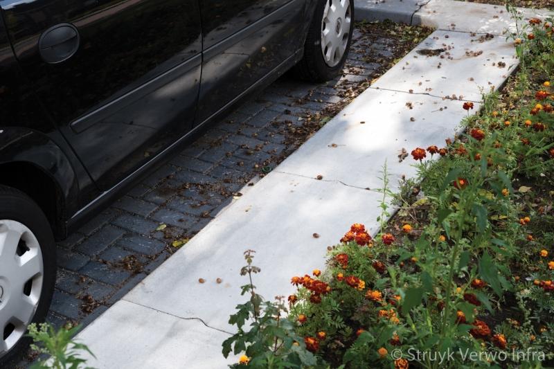 Brede band naast geparkeerde auto