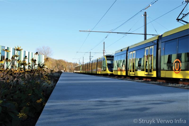 Vloerplaat langs het spoor tramremise nieuwegein