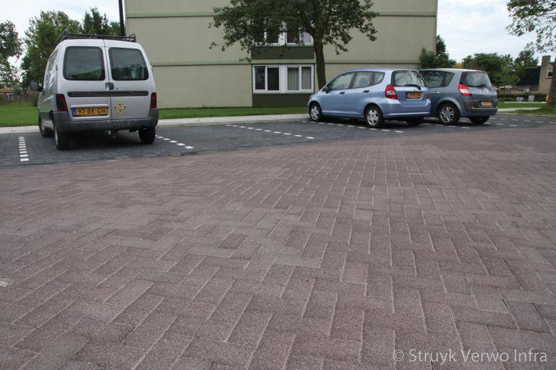 Uitgewassen bestrating bruin elementenverharding betonklinker