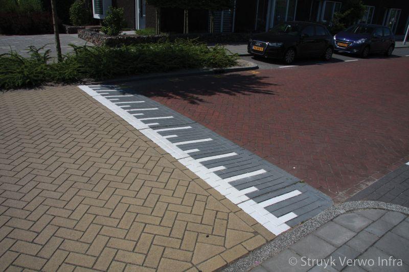 Verkeersplateau met betonnen belijning