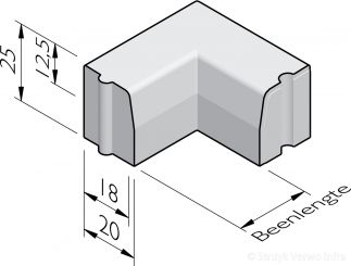 Trottoirband hoekstukken 18/20x25 hol en dol