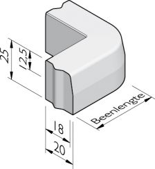 Trottoirband hoekstukken 18/20x25 vb