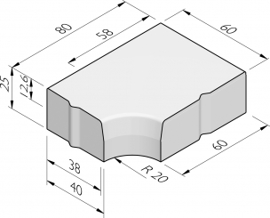 Hoekblokken 38/40-58/60x25