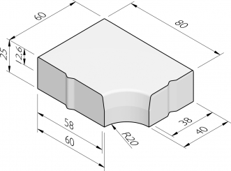 Hoekblokken 58/60-38/40x25