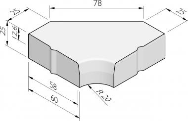 Hoekblokken 58/60x25 inwendig