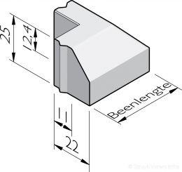 Trottoirband hoekstukken 11/22x25