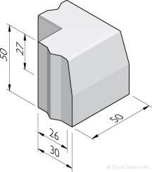 Trottoirband hoekstukken 26/30x50