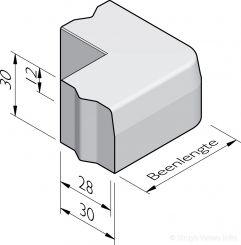 Trottoirband hoekstukken 28/30x30