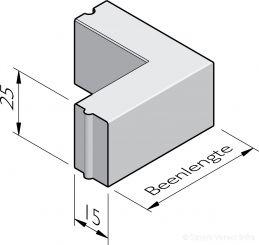Opsluitband hoekstukken 15x25