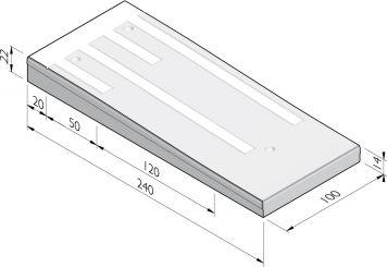 Plateaudrempels 240 sinus 8 cm