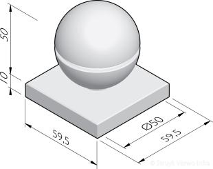 Sierbol Sphere 50 groef met voetplaat
