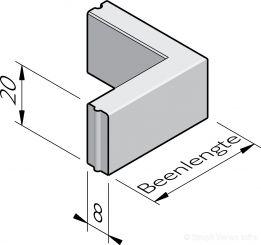 Opsluitband hoekstukken 8x20