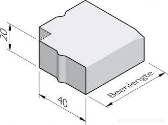 Rabatband hoekstukken 40x20