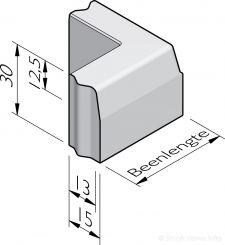 Trottoirband hoekstukken 13/15x30 vb