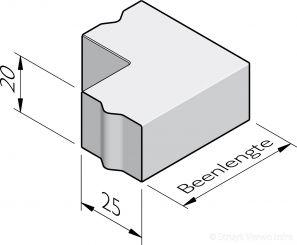 Rabatband hoekstukken 25x20