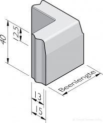 Trottoirband hoekstukken 13/15x40 vb
