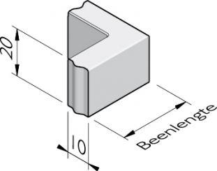 Opsluitband hoekstukken 10x20 vb
