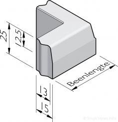 Trottoirband hoekstukken 13/15x25 vb