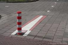 Inleidende waarschuwingsmarkering fietspalen